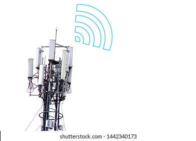 The mobile base station with wifi icon.
