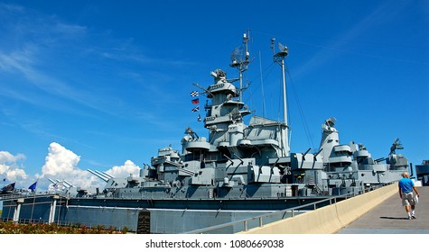 Mobile Bay, Alabama, USA, September 9, 2010 USS Alabama BB-60 a South-Dakota class battleship commissioned in 1942 and a veteran of both the Atlantic and Pacific fronts during WWII.