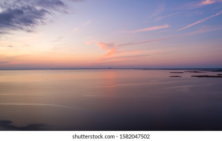 Mobile Bay and the downtown Mobile skyline at sunset