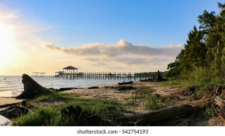 mobile bay shoreline fairhope alabama at late afternoon, evening, log in foreground pier in background