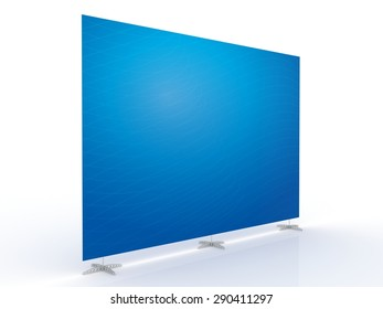Mobile booth, brand Wall or Press Wall with Abstract blue gradient background and transparent curve stroke