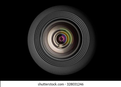 mobile camera lens on black background, macro view