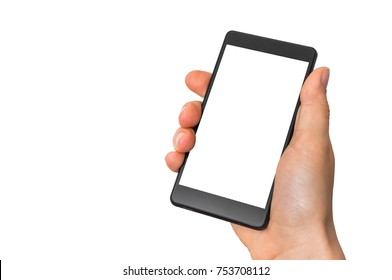 Mobile cell phone with blank white screen in female hand - isolated on white background
