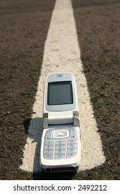 Mobile cell phone on the road