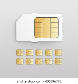 Mobile Cellular Phone Sim Card Chip Set Isolated on White Background