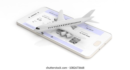 Mobile checkin and boarding pass. Blank airplane on a smart phone screen, isolated on white background. 3d illustration
