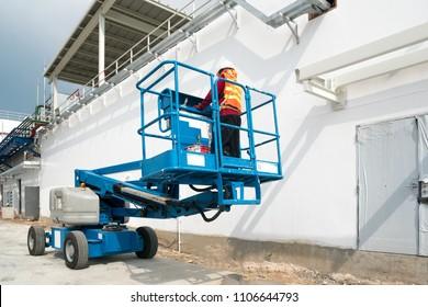 Mobile crane at construction site