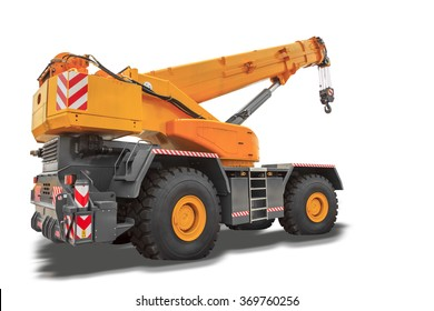 Mobile crane isolated on white background with clipping path