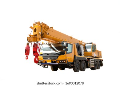 A mobile crane on white background