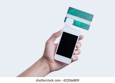 Mobile Credit Card Reader on white background,  payment is easy for customers