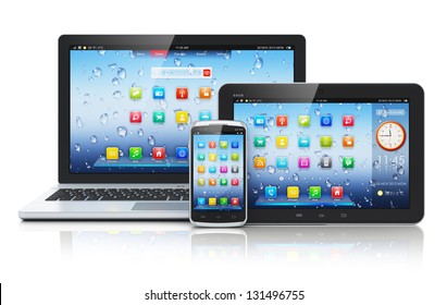 Mobile devices, mobility and telecommunication concept: business laptop or office notebook, tablet PC computer and smartphone with color interface with application icons isolated on white background