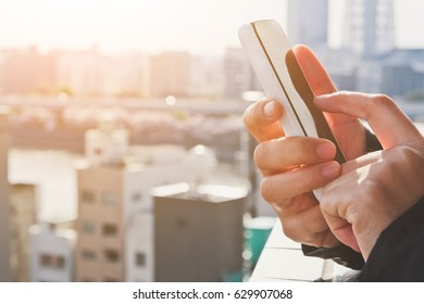 Mobile devices,Close up image of using mobile smart phone