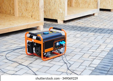 Mobile Diesel Generator on the Construction Site Background