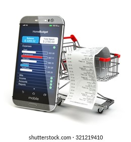 Mobile home budget application concept. Smartphone with shopping cart. 3d