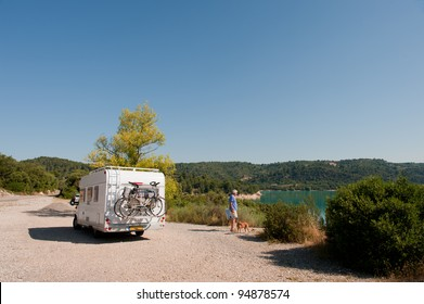 With mobile home at lake de Sainte Croix in the French Provence