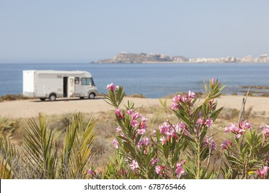 Mobile home at the mediterranean coast in southern Spain