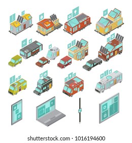 Mobile homes isometric set including electronic devices vans and houses trailers with technologies icons isolated  illustration