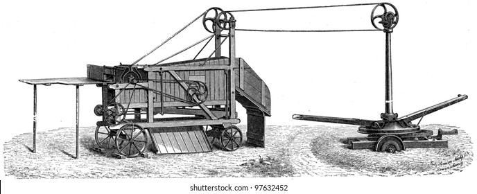 mobile horse threshing machine with a simple cleaning draw by Simeon Nachf - an illustration of the encyclopedia publishers Education, St. Petersburg, Russian Empire, 1896