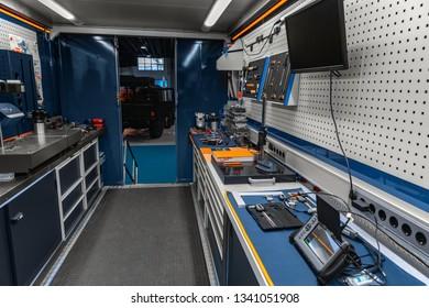 Mobile industrial workshop set up inside of truck angle shot