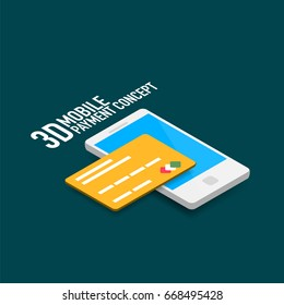 mobile internet payment concept with smart phone and credit card, modern isometric flat style design