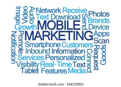Mobile Marketing Word Cloud on White Background