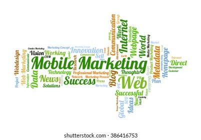Mobile Marketing word cloud shaped as a arrow