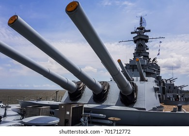MOBILE - MAY 12: USS Alabama warship (BB-60), 360 VR armed artillery anti aircraft deck of this South Dakota - class battleship, that is a Museum on May 12 2017 in MOBILE, USA