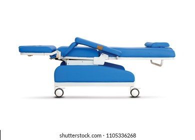 Mobile medical Bed under the white background. Electric Variable Height Bed. Medical Equipment.