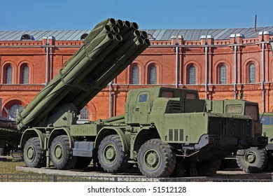 mobile missile system near the old red building