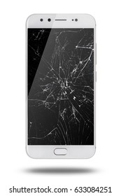 Mobile modern touch screen smartphone with broken screen isolated on white background.