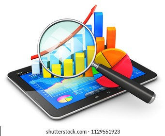 Mobile office, stock exchange market trading, statistics accounting, financial development and banking business concept 3D render of tablet computer PC with stock market application software interface