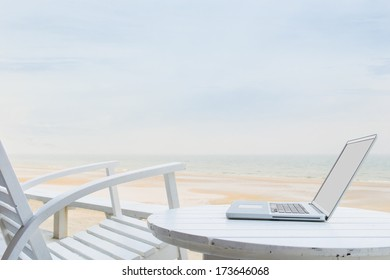 Mobile office with wooden chair and table