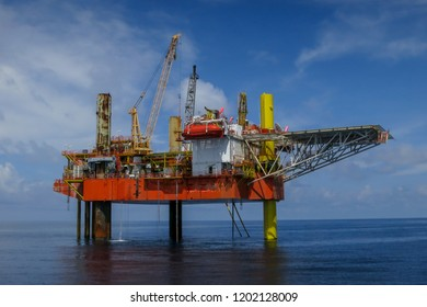 Mobile offshore drilling rig converted to production facility platform known as MOPU (Mobile Offshore Production Unit) used for extracting the oil and gas from the field.