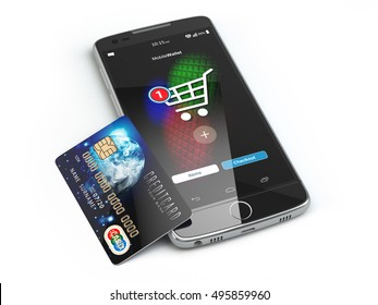 Mobile online shopping. E-commerce with smart phone and credit card isolated on white. 3d illustration