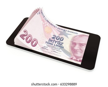 Mobile payment, money transfer with smart phone, Turkish lira. 3d rendered illustration.