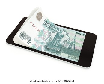 Mobile payment, money transfer with smart phone, Russian ruble. 3d rendered illustration.