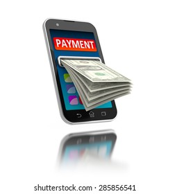 Mobile payments concept illustration. Modern smartphone with money on white.