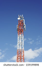 Mobile phone antenna in blue sky background