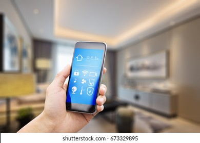 mobile phone with apps on smart home in luxury living room