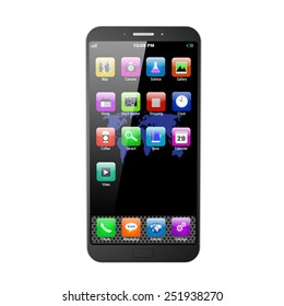 mobile phone with apps on white background,cell phone illustration