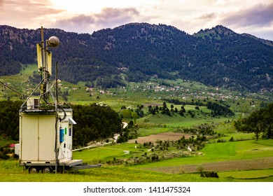 Mobile phone base stations countryside in Turkey,  Transceiver Antenna in The Countryside, Base Transceiver Station (BTS), Mobile Communication Technolgy.