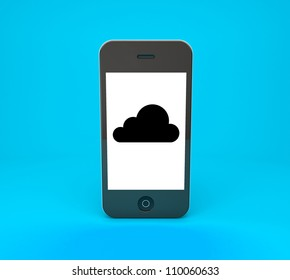 mobile phone with black cloud on a blue background