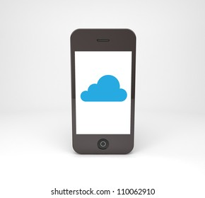 mobile phone with blue cloud