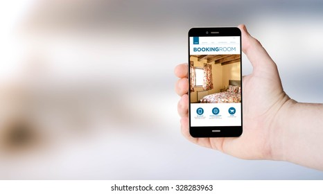 mobile phone booking website on digital generated phone screen with sea background. All screen graphics are made up.