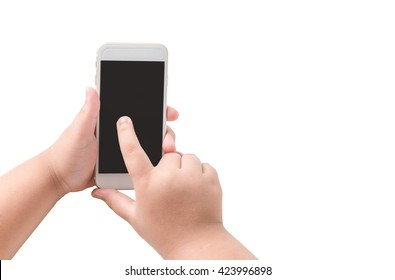 Mobile phone in boy hand isolated on white