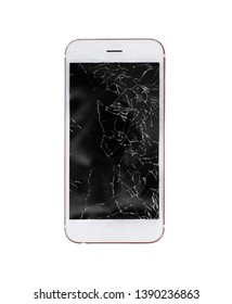 mobile phone with broken glass screen display isolated on white background