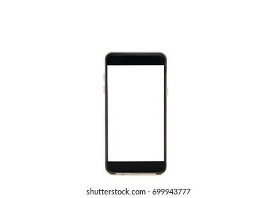 Mobile phone, cellphone black with blank screens isolated on white background