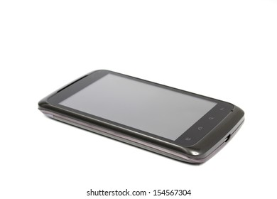 Mobile phone with clipping path on a white background.