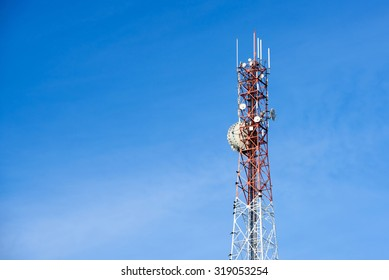 Mobile phone communication antenna tower with the blue sky