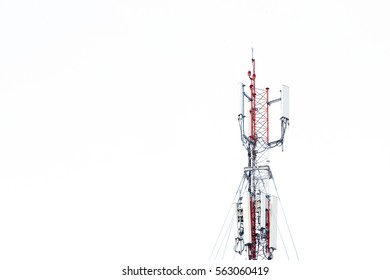 Mobile phone communication tower transmission  signal with blue sky background and antenna